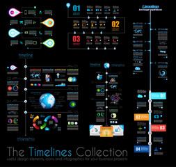 Timeline Infographic design templates Set 1 on Black.