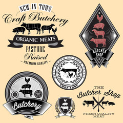set of labels for Butcher on brick wall