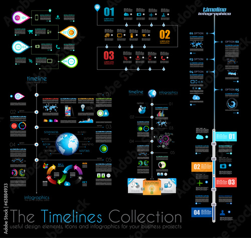 Timeline Infographic design templates Set 1 on Black.