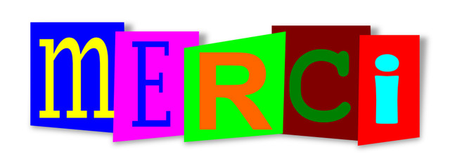Colourful inscription on colored substrates  - merci - vector