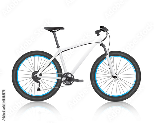 realistic mountain bike white vector