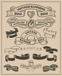 Retro vintage scroll and banner vector set