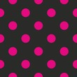 Seamless vector pattern tile pink polka dots black background