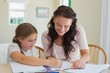 Woman helping daughter in homework