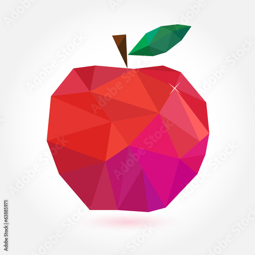 Geometric apple in style origami