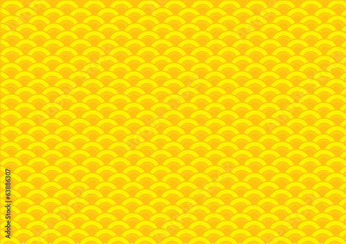 Abstract Yellow Oriental Wave Pattern Background