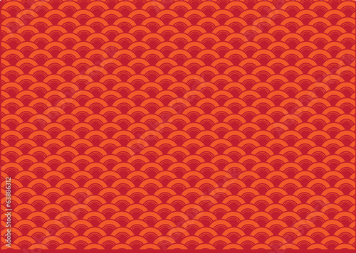 Abstract Red Oriental Wave Pattern Background