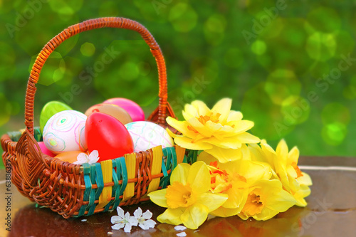 Easter eggs basket.