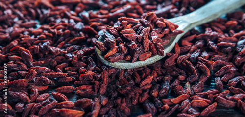 Dried goji berries on a spoon