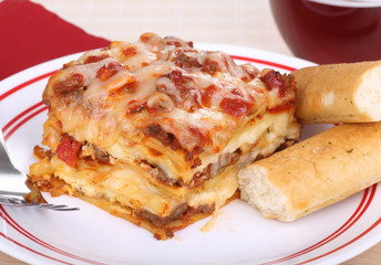 Lasagna and Bread Sticks