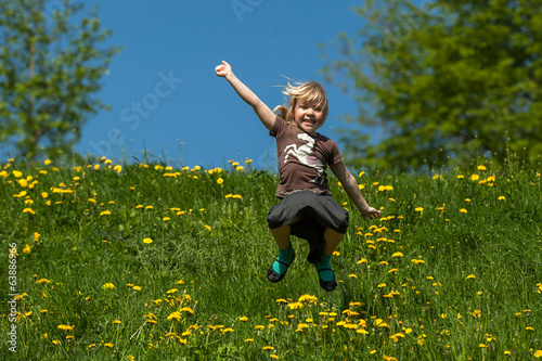 teenager girl jumping
