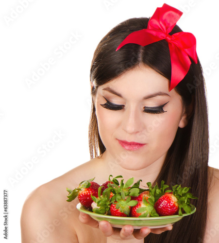 Young woman having healthy breakfast