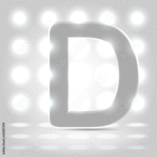 D over lighted background