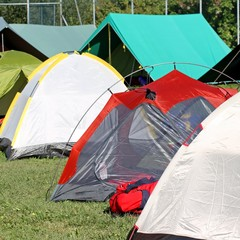 tents in a soccer field