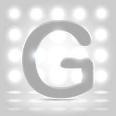G over lighted background