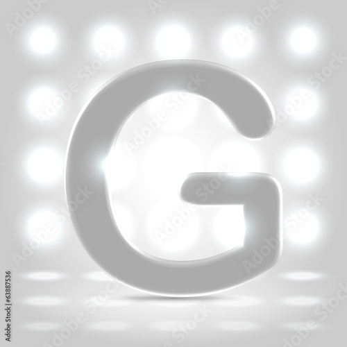 G over lighted background
