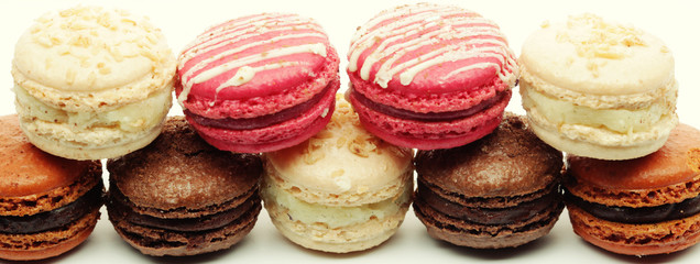 macaroons over white background