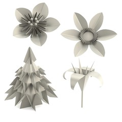 realistic 3d render of origami plants