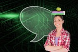 Composite image of speech bubble and student