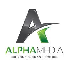 Letter A Logo Alpha Green