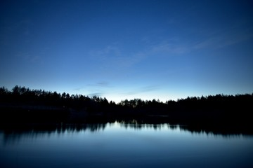 Night landscape lake
