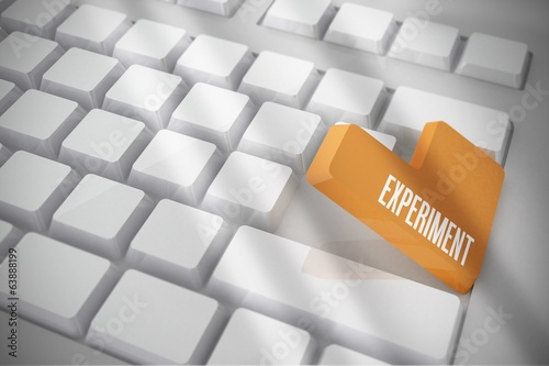 Experiment on white keyboard with orange key