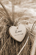 single sepia wooden heart on beach dunes