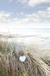 single wooden heart on beach dunes