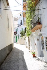 View of typical of Ibiza old quarter