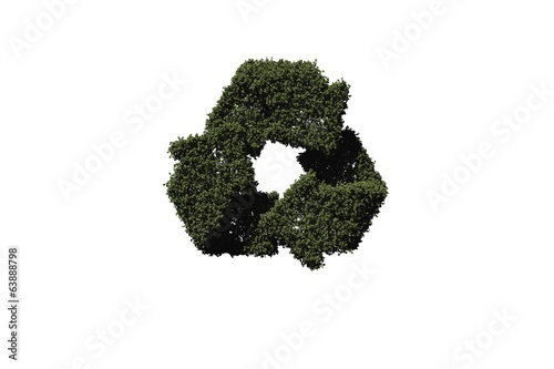 Recycling symbol made of leaves