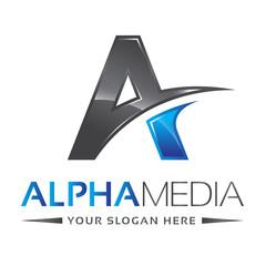 Letter A Logo Alpha Blue