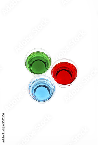 three color juice on white background