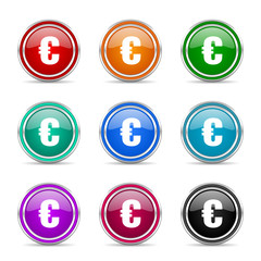 euro icon vector set