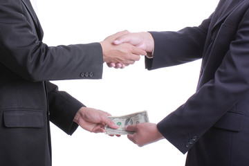 Businessman give money for corruption something and accepted