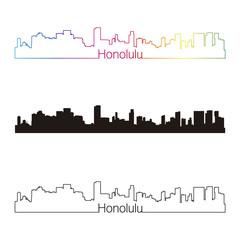 Honolulu skyline linear style with rainbow