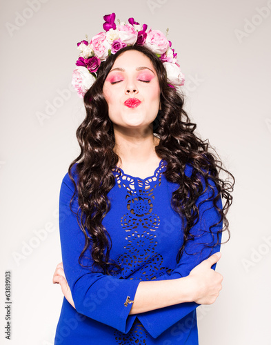 attractive woman with flowers in her hair