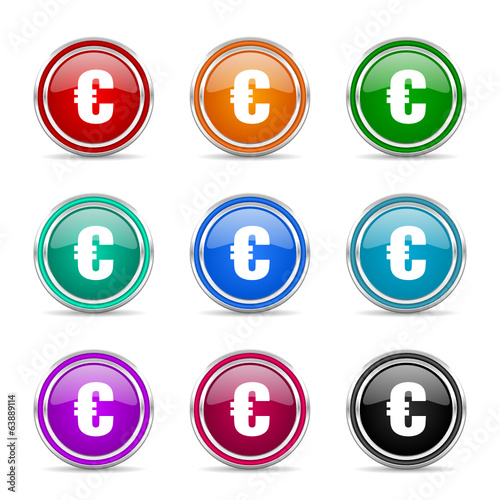 euro icon vector set