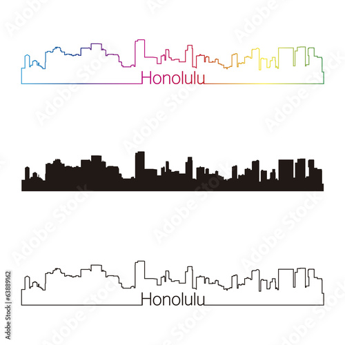 Honolulu skyline linear style with rainbow