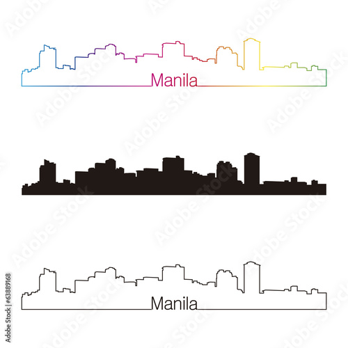 Manila skyline linear style with rainbow