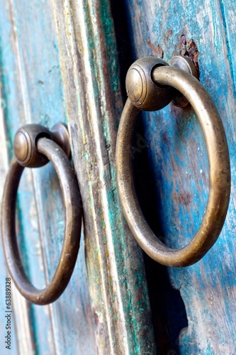 Old wooden door and knocker