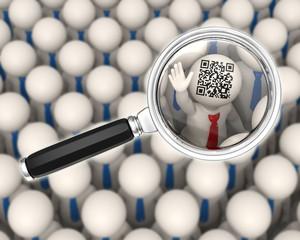 3d business people - QR code - magnifier focus