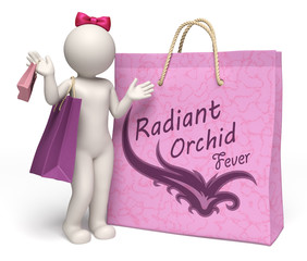 3d woman with giant radiant orchid shopping bag