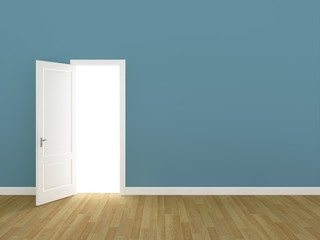 door open on light blue wall ,3d