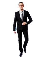 Studio shot of a confident businessman over white background