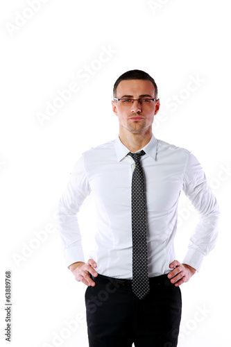 confident businessman in glasses