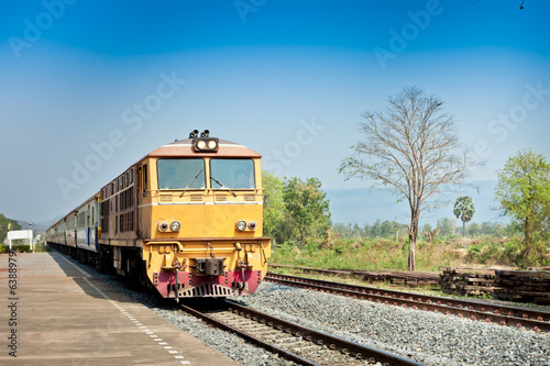 railway tracks on background of scenery