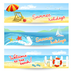 three summer sea banners