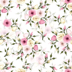 Seamless pattern with lisianthus flowers. Vector eps-10.