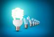 Idea concept with light bulbs on blue