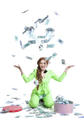Happy woman throwing money